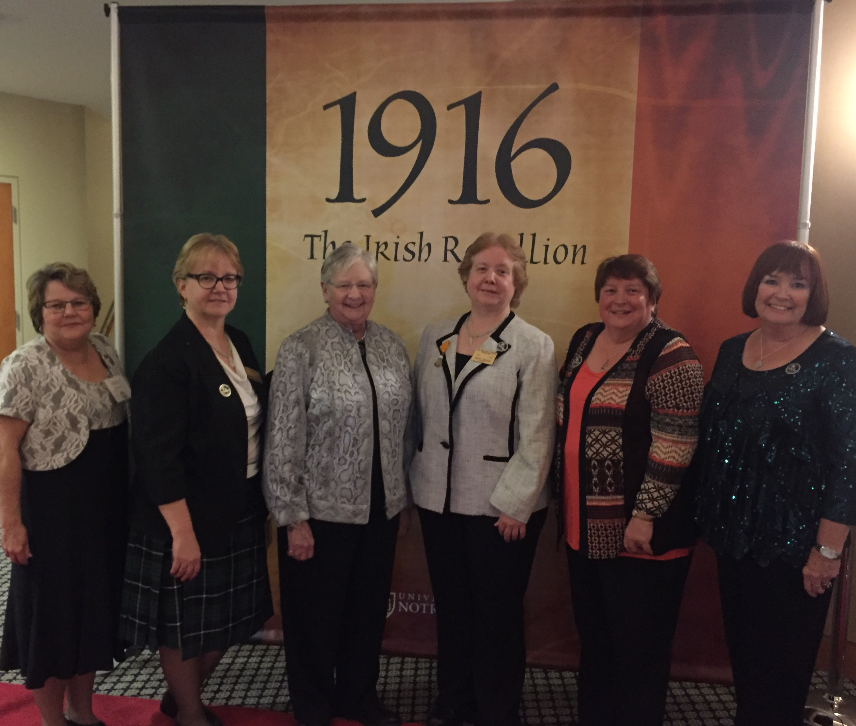 Ohio State President Maire Manning, National FFAI Chair Peggy Cornish, National Vice President Pat O'Connell, National President Mary Hogan, National Irish Historian Marilyn Madigan and National Immediate Past President Maureen Shelton at the World Premiere of 1916 The Irish Rebellion