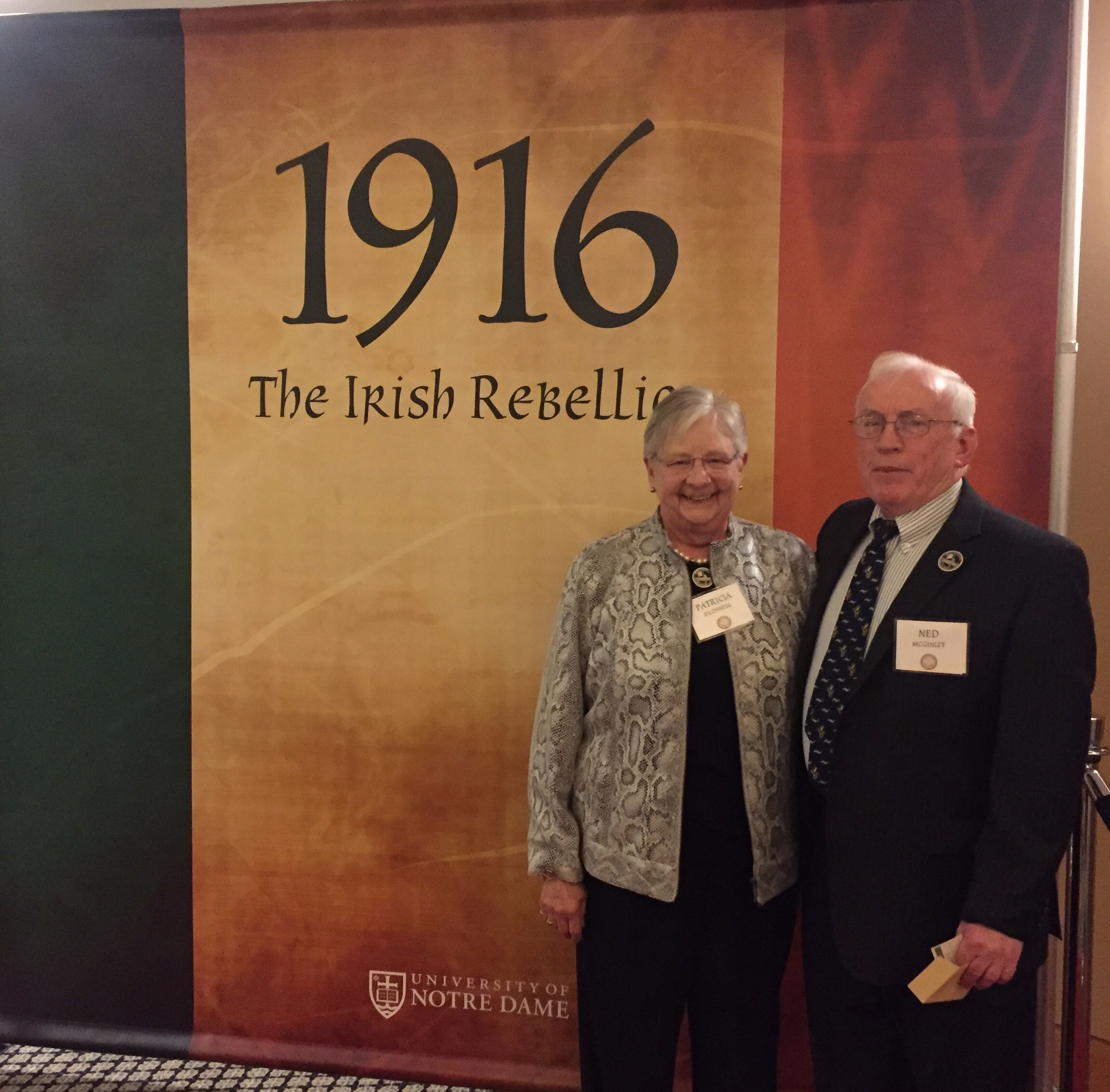 Notre Dame Chairs AOH Ned McGinley and LAOH Pat O'Connell at Premiere of 1917 The Irish Rebellion