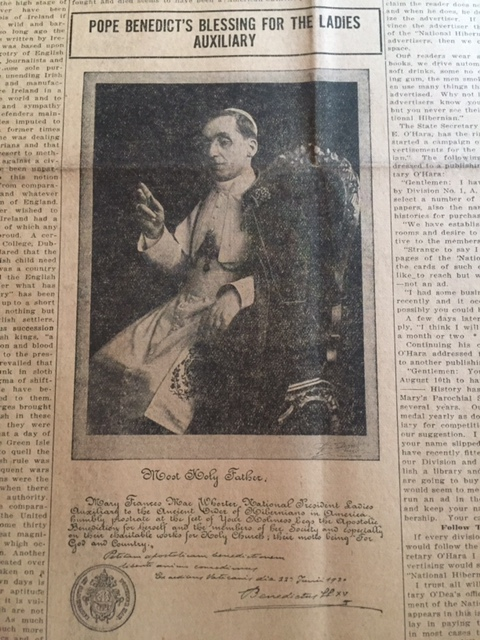 Article on Pope Benedict's blessing  for the LAOH. Courtesy Marilyn Madigan.
