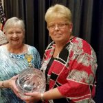 Pat O'Connell presenting Agnes O'Leary with the St. Brigid Humanitarian Award Winner