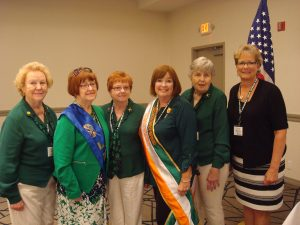 Past Michigan Hibernian Woman Award recipients gather for a photo. L-R Mary Ochab, Mary Sheehy, Agnes Gowdy, Maureen Shelton, Mary O'Connell and Maureen Kelly.  Missing from photo, Patricia Martin.
