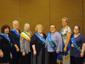 The new Michigan State Board was proud to be installed by Patricia O'Connell, our LAOH National President.  L-R: Kathleen Capman, Catholic Action; Dianne Mankel, Missions & Charities; Patricia O'Connell, National President; Barb Weir, President; Stacey Blair, Vice President; Maureen Kelly, Secretary and Brigid Taylor, Historian. Missing from photo, Marna Adamian, Historian.