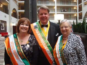 Taking a moment following installation of officers are: Past National President, Maureen Shelton, AOH National President Jim McKay III, and LAOH National President, Patricia O'Connell.