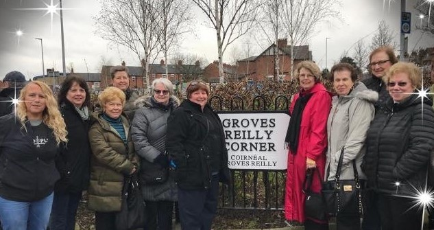 Throughout the Troubles the junction of the Glen and Falls Road was home to an intensely fortified RUC barracks. The barracks was demolished in 2005 and gradually redeveloped over the years. In January (2019) it was renamed in honour of activists Emma Groves and Clara Reilly who campaigned for decades against plastic bullets (Groves was blinded in 1972 by a plastic bullet fire by a Paratrooper) and founder members of Relatives For Justice (web). (source: https://extramuralactivity.com/2019/08/07/groves-reilly-corner/)